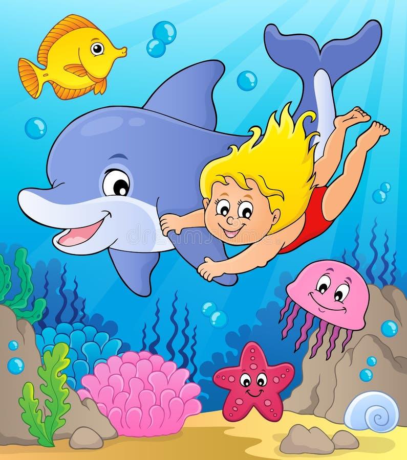 Dziewczyny i delfinu wizerunek 2 ilustracja wektor