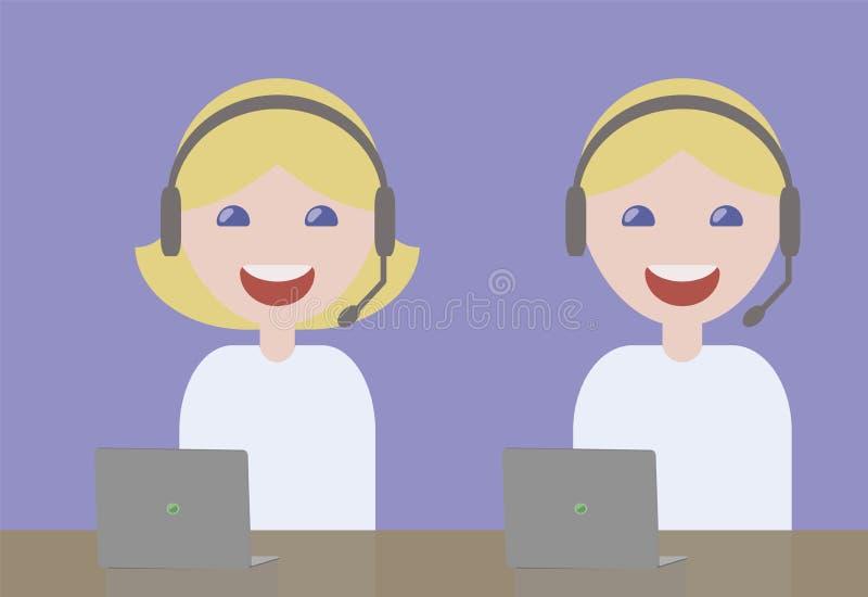 Dziewczyny i faceta operatorów hełmofonów mikrofonu uśmiechnięte blondynki w błękita światła koszulek obsługi klienta zagadnienia ilustracji