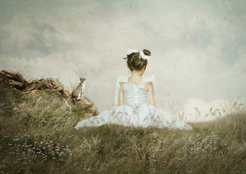 Dziewczyny i kota obsiadanie w polu ilustracja wektor
