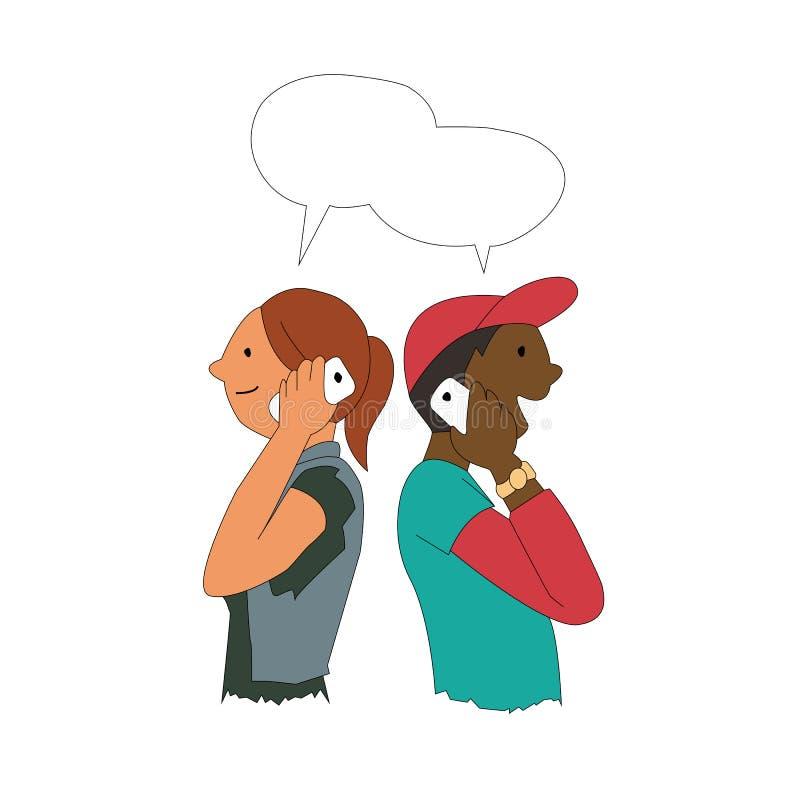 Dziewczyny i mężczyzna udzielenie i wymieniać dane z smartphone ilustracja wektor