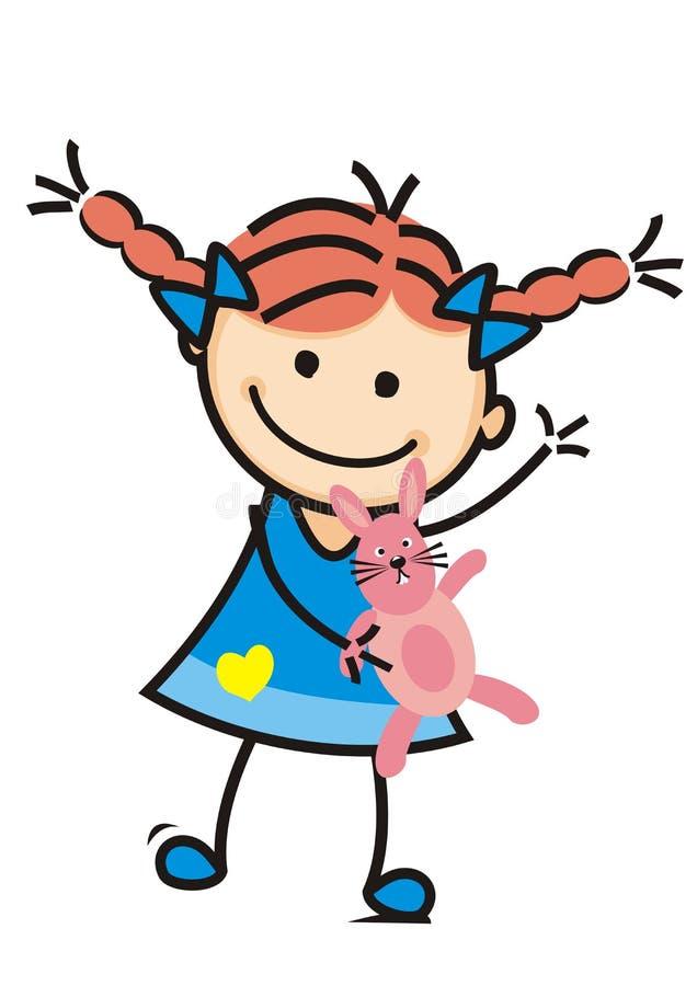 Dziewczyny i mokietu królik, śliczna ilustracja, wektorowa ikona royalty ilustracja