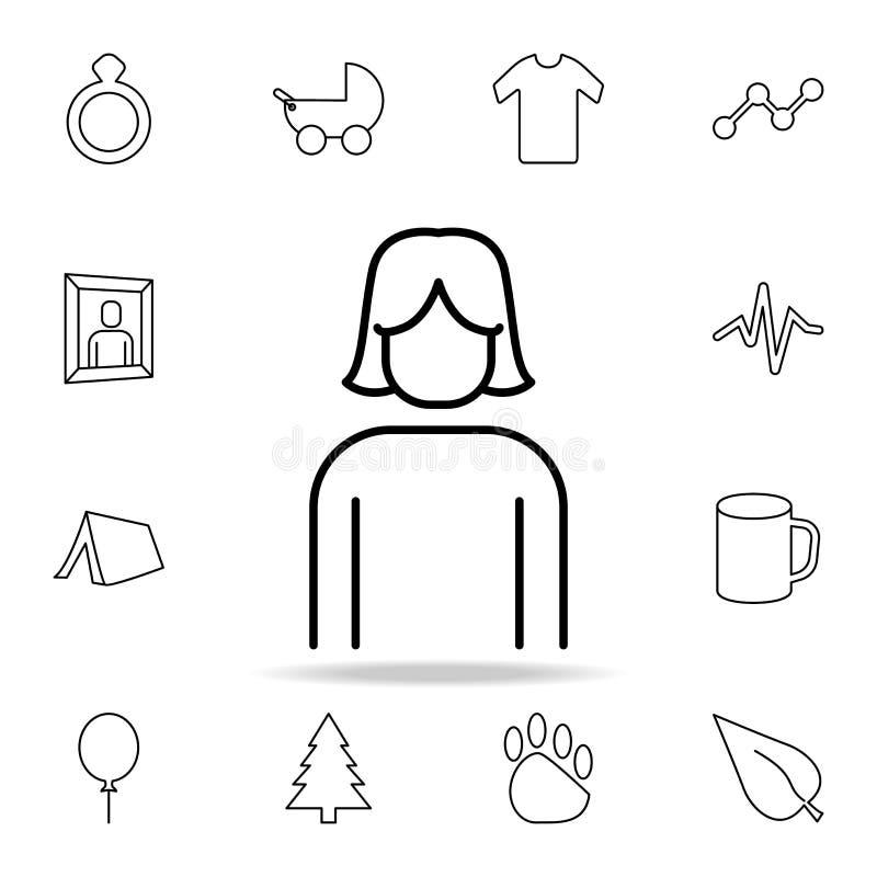 Dziewczyny ikona Szczegółowy set proste ikony Premia graficzny projekt Jeden inkasowe ikony dla stron internetowych, sieć projekt royalty ilustracja