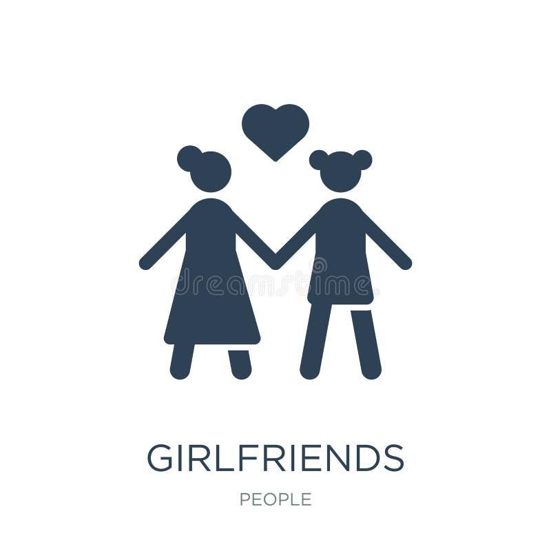 dziewczyny ikona w modnym projekta stylu dziewczyny ikona odizolowywająca na białym tle dziewczyny wektorowa ikona prosta i nowoż royalty ilustracja