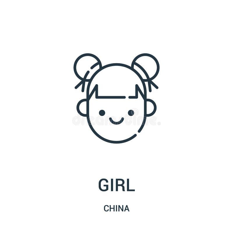dziewczyny ikony wektor od porcelanowej kolekcji Cienka kreskowa dziewczyna konturu ikony wektoru ilustracja Liniowy symbol dla u royalty ilustracja
