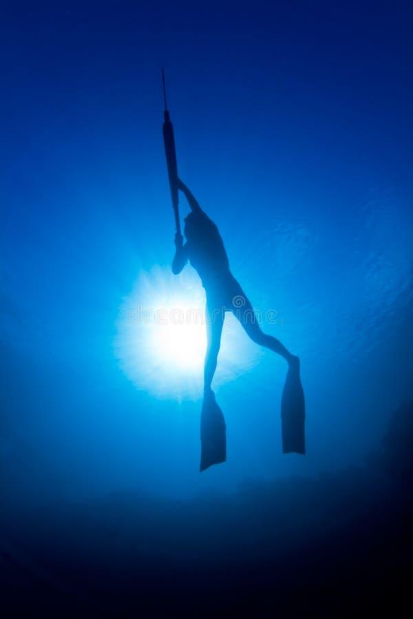 dziewczyny infront spearfishing słońce fotografia royalty free