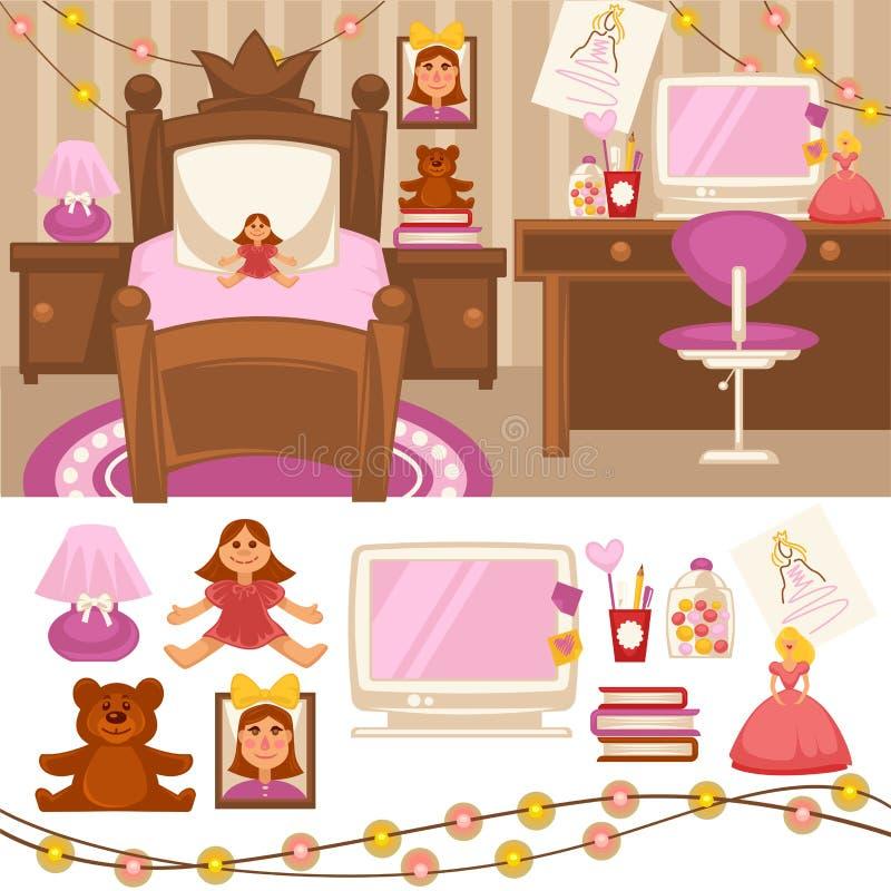 Dziewczyny izbowa sypialnia Ustawiająca meble dla dziewczyn royalty ilustracja
