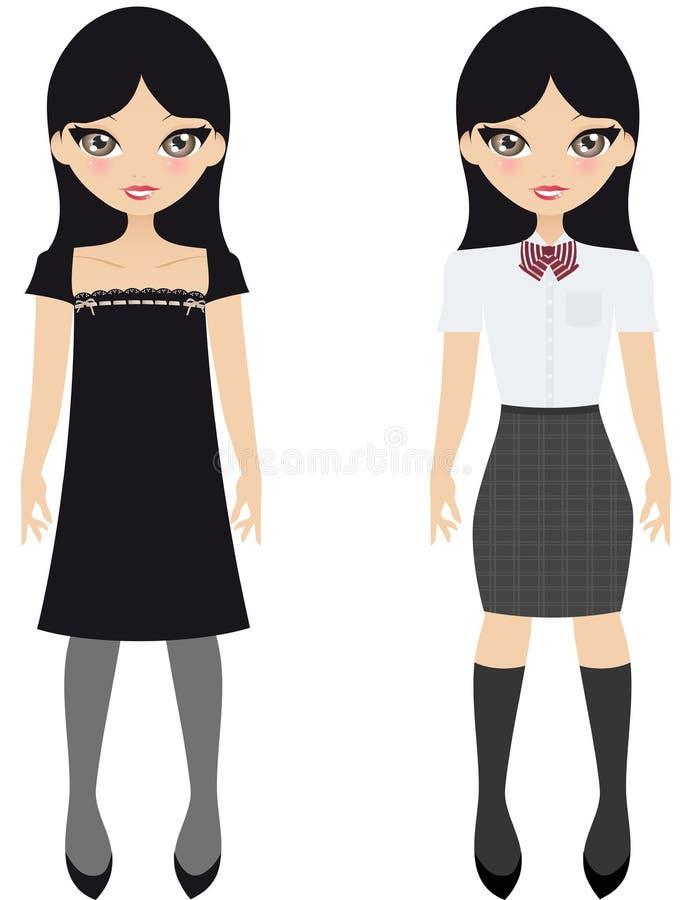 dziewczyny japończyka szkoła ilustracja wektor