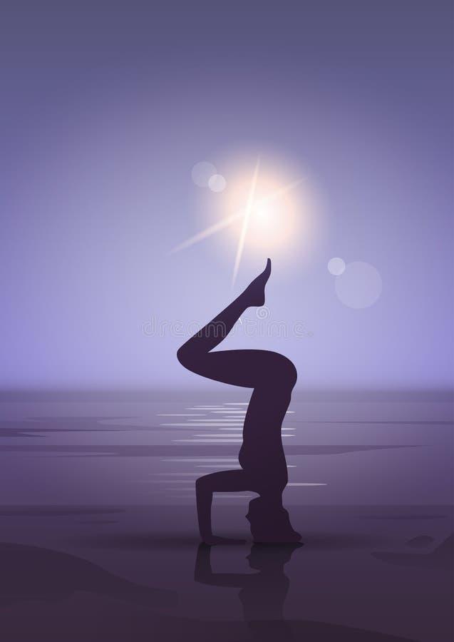 Dziewczyny joga pozyci sporta sprawności fizycznej kobiety ćwiczenia treningu sylwetka W księżyc świetle ilustracja wektor