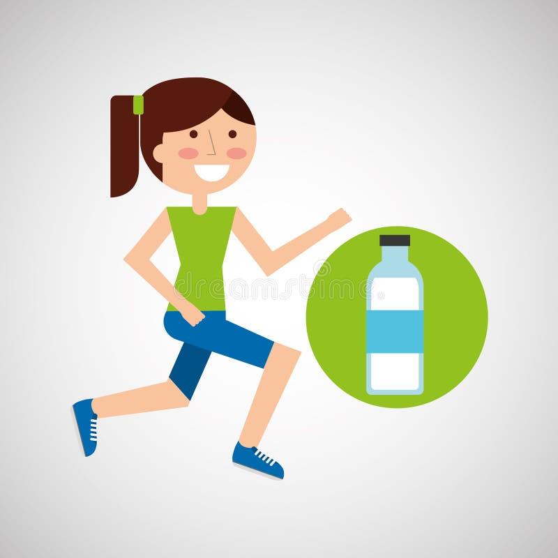 Dziewczyny jogger butelki wody zdrowy styl życia royalty ilustracja