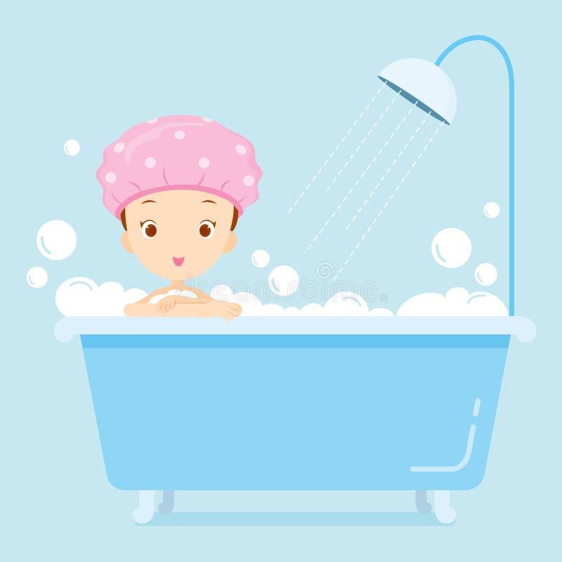 Dziewczyny kąpanie w wannie ilustracja wektor