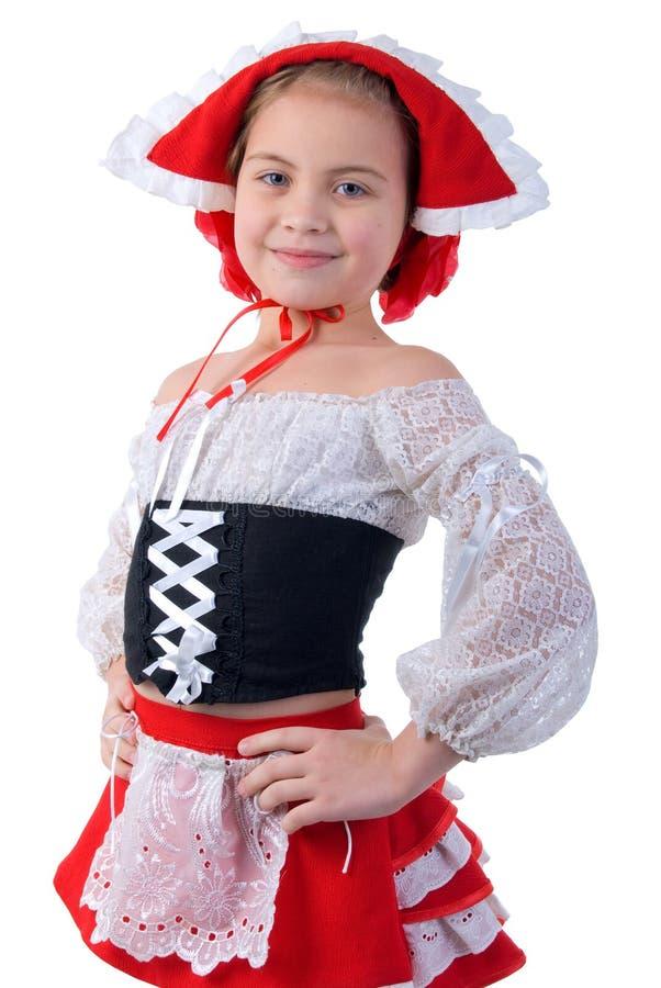 dziewczyny kapeluszowa mała portreta czerwień obrazy stock