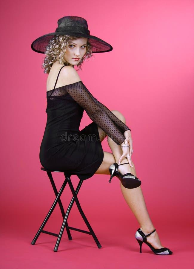 dziewczyny kapeluszu czerwień zdjęcie stock