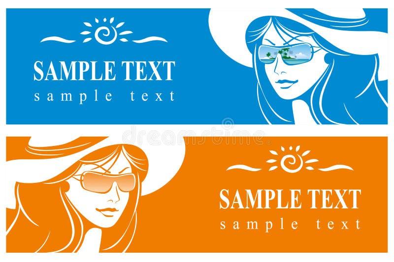 dziewczyny kapeluszu okulary przeciwsłoneczne ilustracja wektor