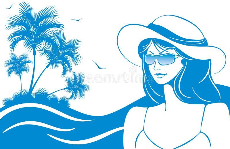 dziewczyny kapeluszu okulary przeciwsłoneczne ilustracji