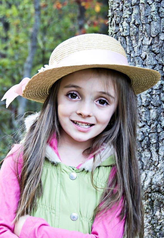 dziewczyny kapeluszu słoma obraz stock