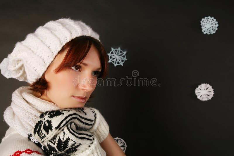dziewczyny kapeluszu zima obrazy stock