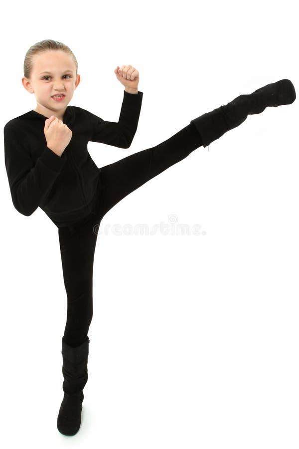 dziewczyny karate kopnięcie zdjęcie royalty free
