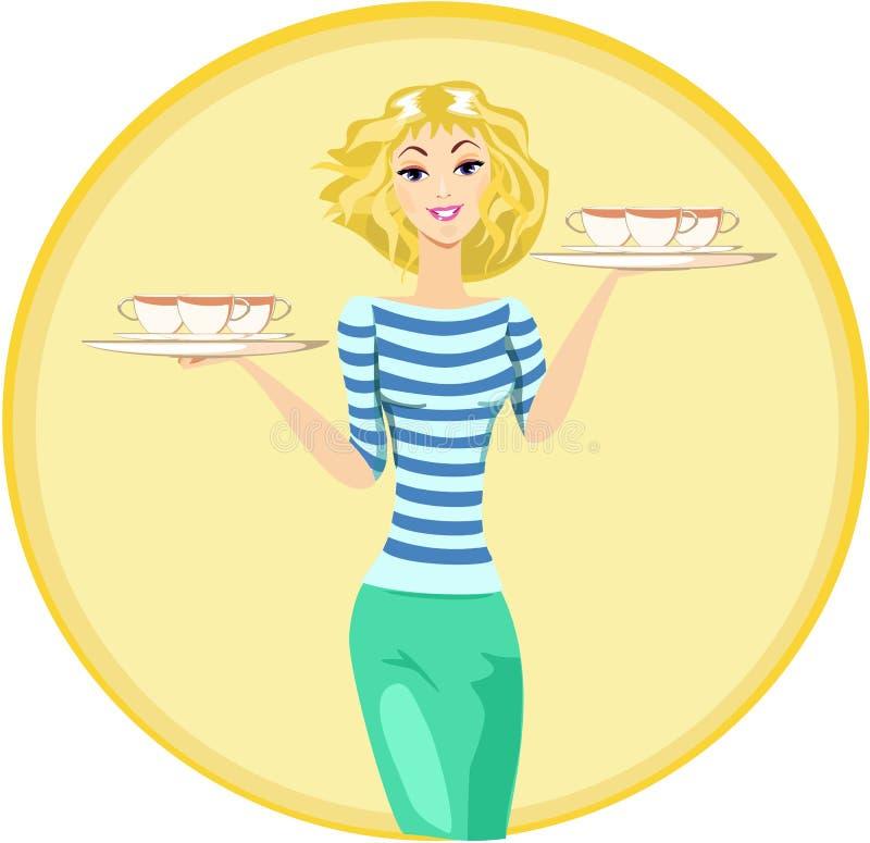 Dziewczyny kelnerka Niesie tacę Z filiżankami kawy ilustracji