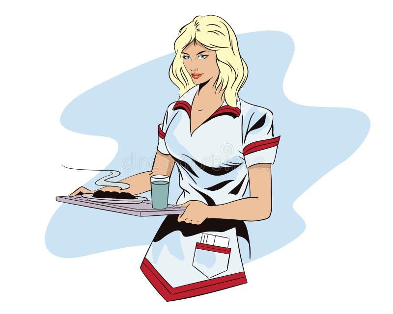 Dziewczyny kelnerka z tacą ilustracja wektor
