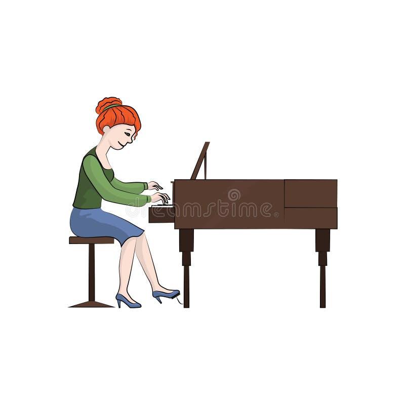 Dziewczyny kobieta bawić się pianino abstrakcjonistyczny koloru ryba ilustraci wektor royalty ilustracja