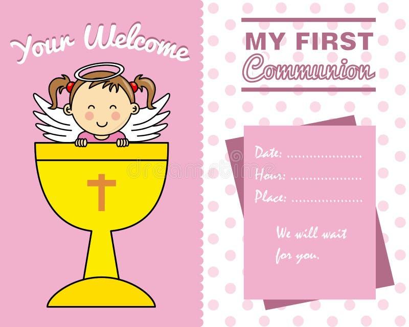 Dziewczyny komuni Pierwszy karta royalty ilustracja