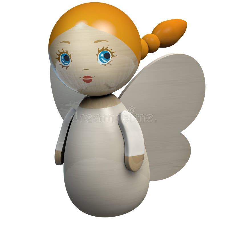 Dziewczyny lali Drewniany charakter z aniołów skrzydłami ilustracji