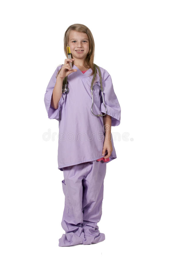Dziewczyny lekarka z strzykawką obrazy stock