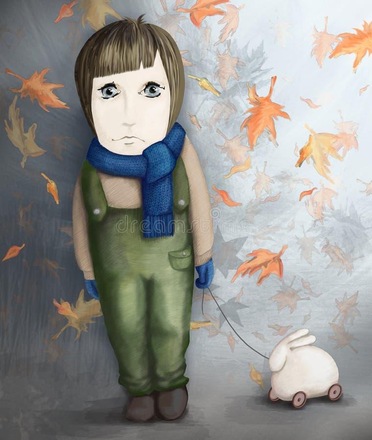 dziewczyny małego królika smutna zabawka ilustracji