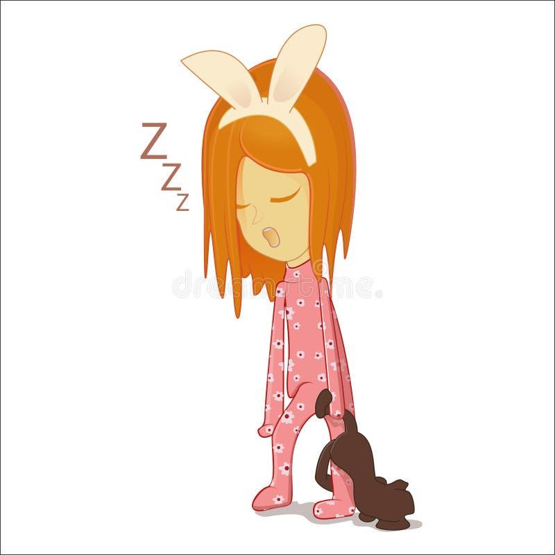 dziewczyny mały śpi royalty ilustracja