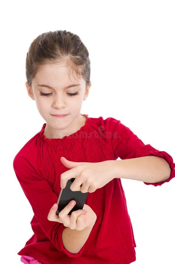 dziewczyny mały sztuka smartphone obraz stock