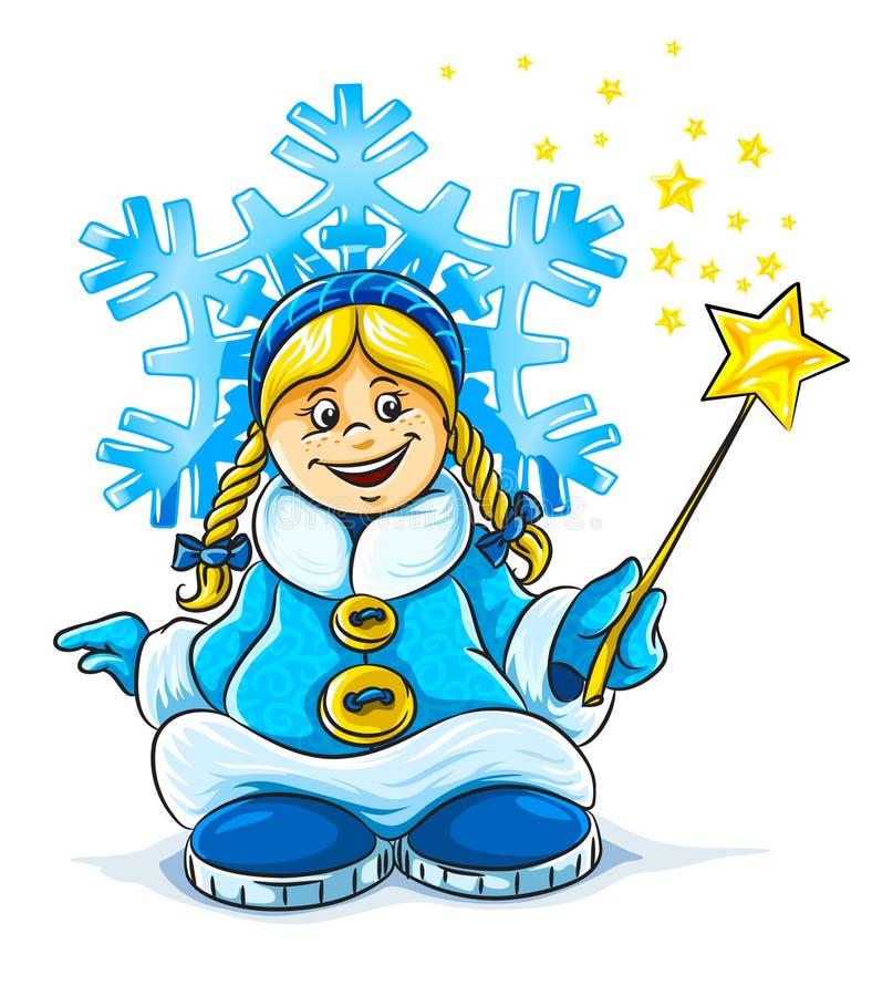 dziewczyny magiczny dziewiczy uśmiechnięty śniegu wektor ilustracji
