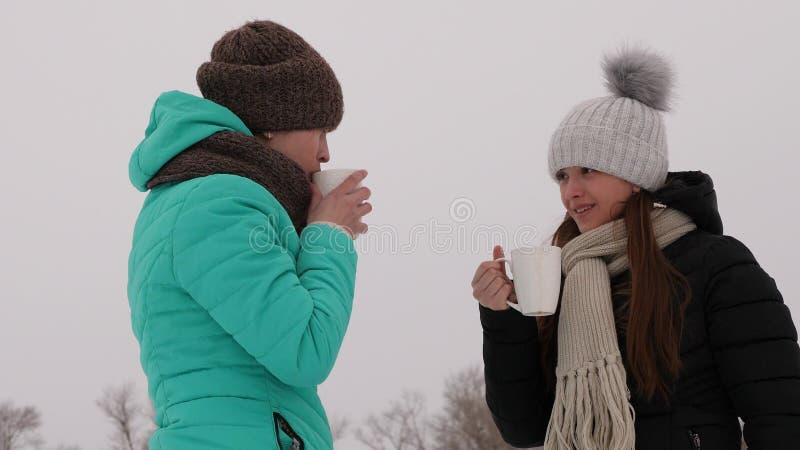Dziewczyny marznąć w zimnie opowiada gorących napoje od szkieł i pije śmiają się uśmiecha się obrazy stock
