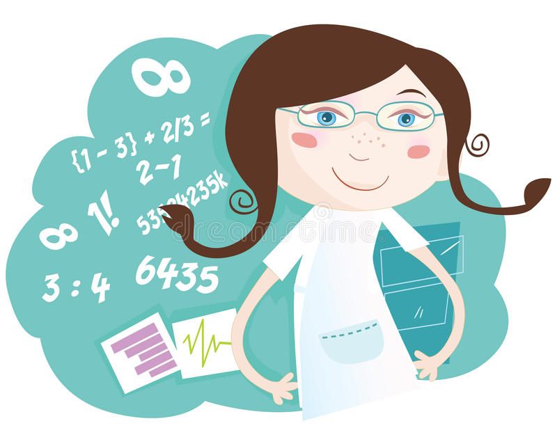 dziewczyny matematyka ilustracja wektor