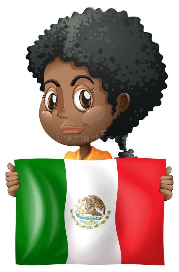 Dziewczyny mienia flaga Meksyk ilustracji