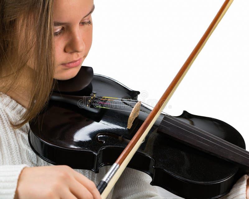 Dziewczyny mienia skrzypce i łęk obraz royalty free