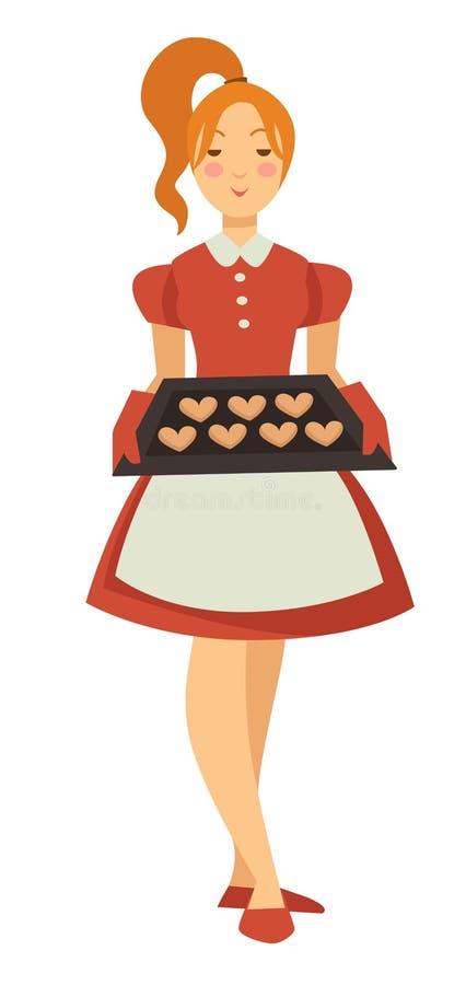 Dziewczyny mienia taca z ciastkami odizolowywał żeńskiego charakteru gospodyni domowej ilustracja wektor