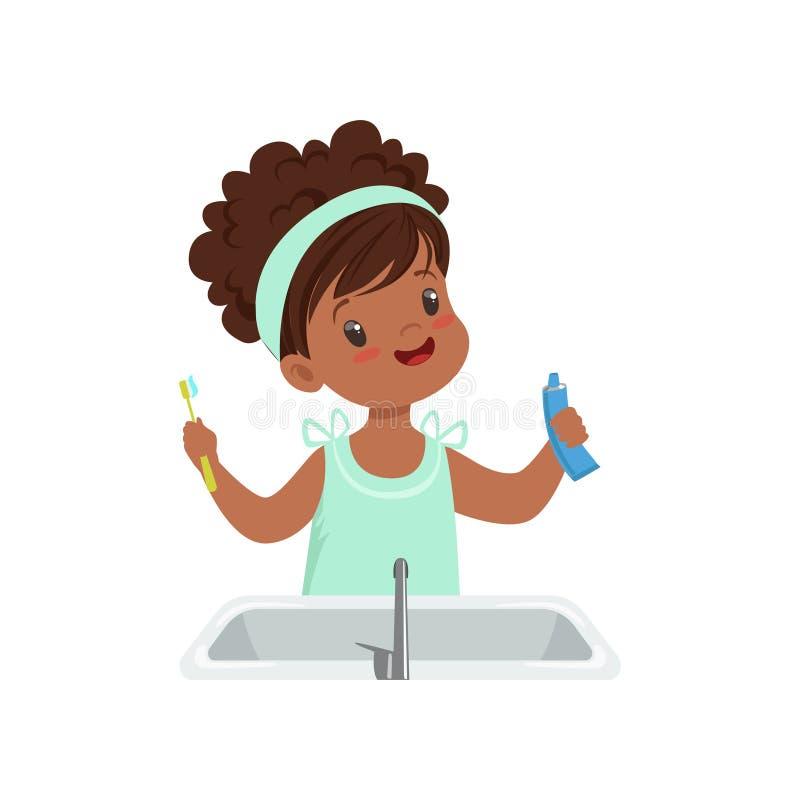 Dziewczyny mienia zębu pasta i toothbrush, śliczny dzieciak szczotkuje jej zęby w łazienki wektorowej ilustraci na bielu ilustracji