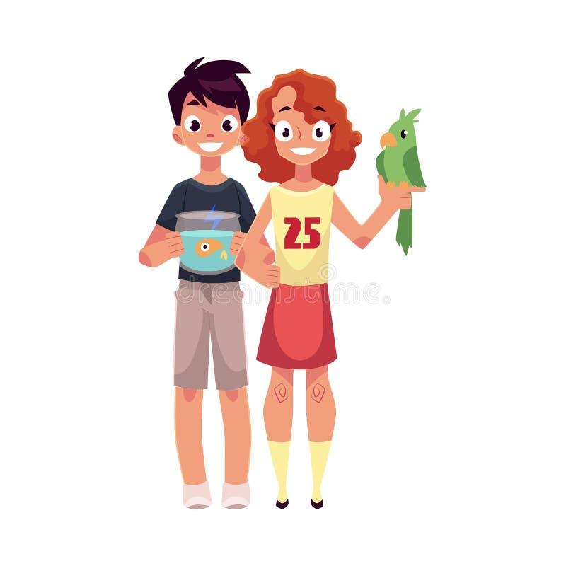Dziewczyny mienia zieleni chłopiec z akwarium i papuga, rybi puchar ilustracja wektor