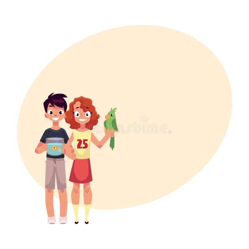 Dziewczyny mienia zieleni chłopiec z akwarium i papuga, rybi puchar royalty ilustracja