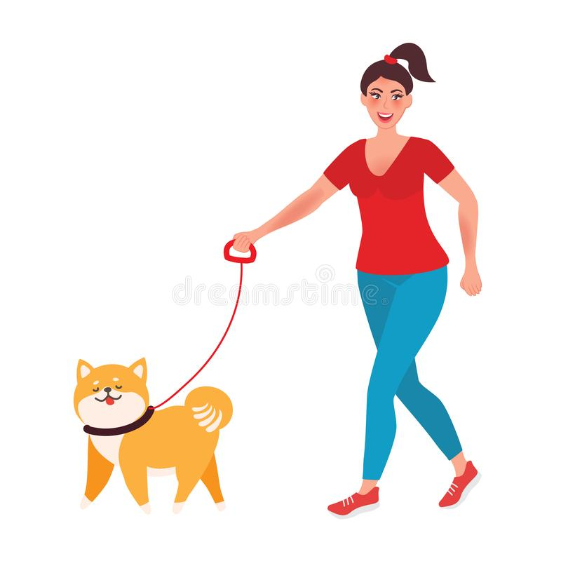 Dziewczyny mienie i odprowadzenie pies na smyczu ilustracja wektor