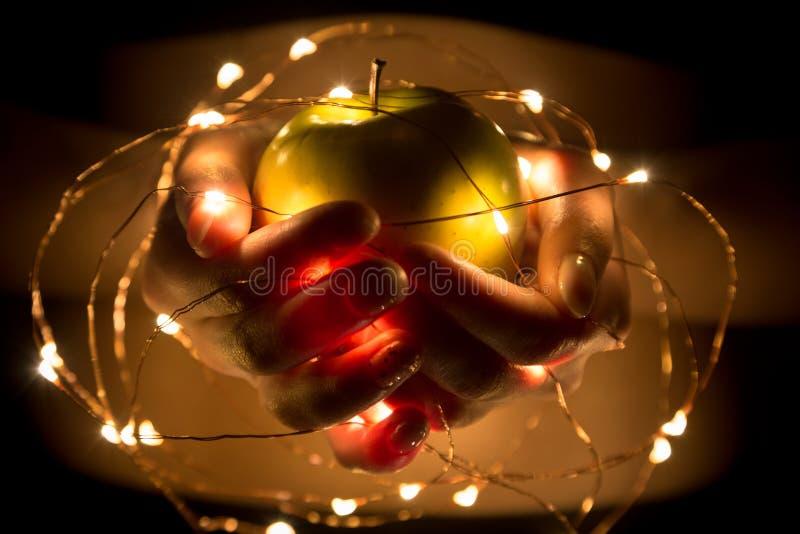 Dziewczyny mienie w ręki zielonym jabłku z girlandą zaświeca obrazy stock