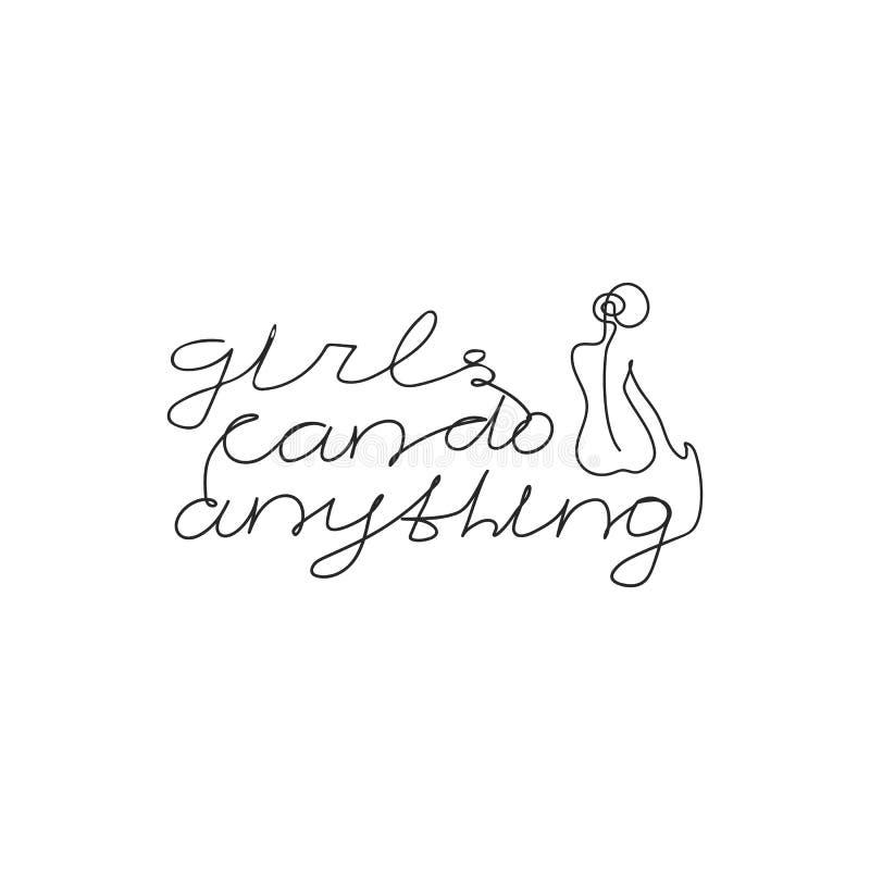 Dziewczyny mogą robić cokolwiek slogan z kobiety ciała koszulki ręka rysującym drukiem ilustracja wektor