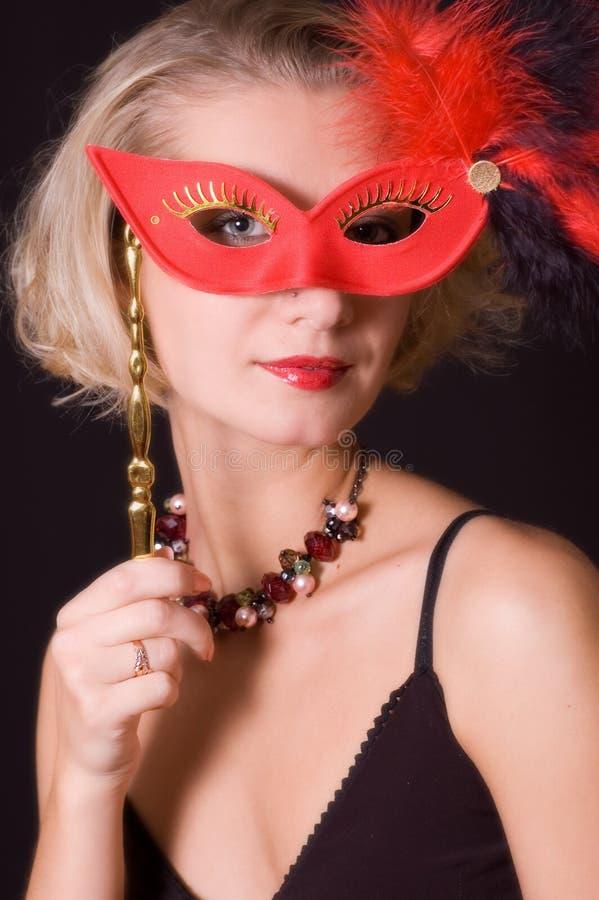 dziewczyny na karnawałowy maski czerwony obraz royalty free
