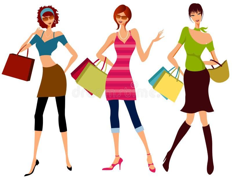 dziewczyny na zakupy ilustracja wektor
