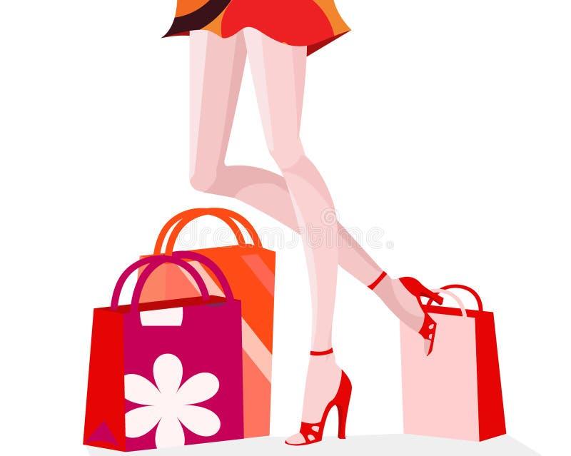 dziewczyny na zakupy royalty ilustracja