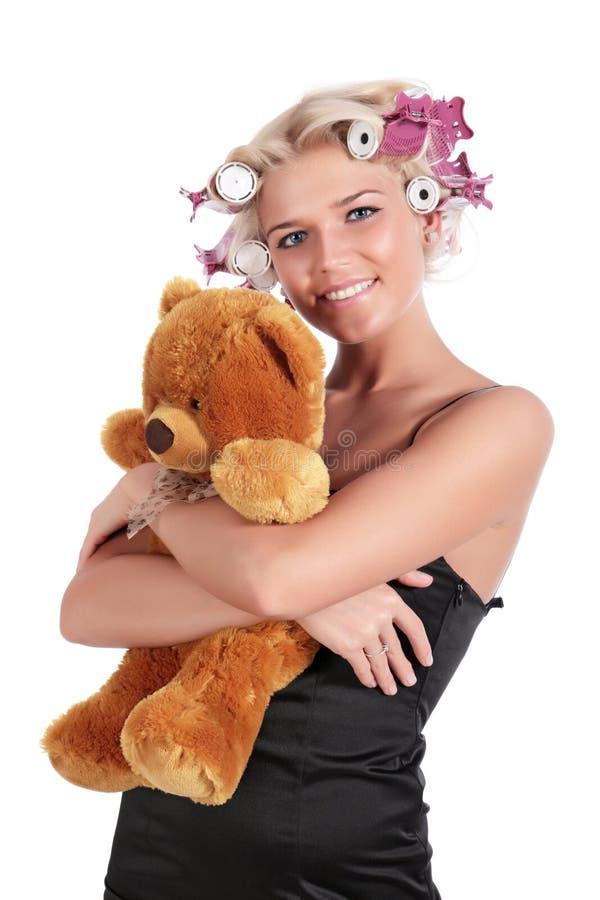 dziewczyny niedźwiadkowy miś pluszowy obrazy royalty free