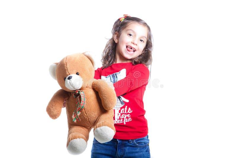 dziewczyny niedźwiedziej mały teddy zdjęcie royalty free