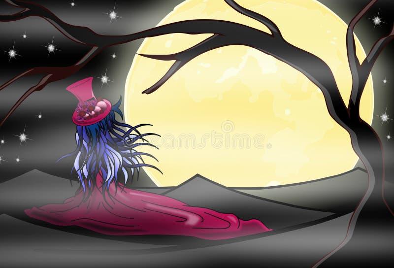 dziewczyny noc royalty ilustracja