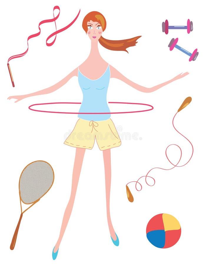 dziewczyny obręcza sport ilustracja wektor