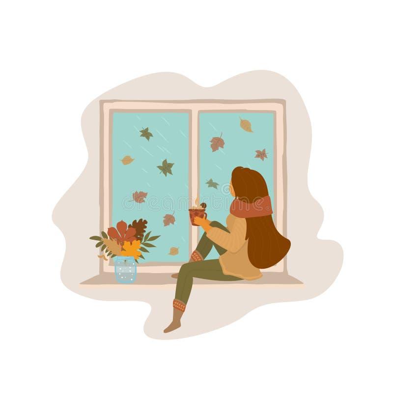 dziewczyny obsiadanie na nadokiennej deski dopatrywania spada liściach, jesień, spadek odizolowywał wektorową ilustracyjną scenę royalty ilustracja